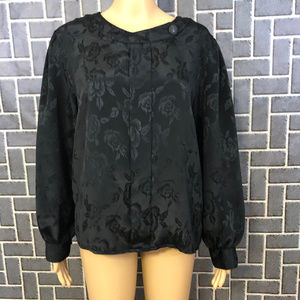 JACLYN SMITH SZ 8 BLACK POLYESTER BLOUSE LN SLEEVE